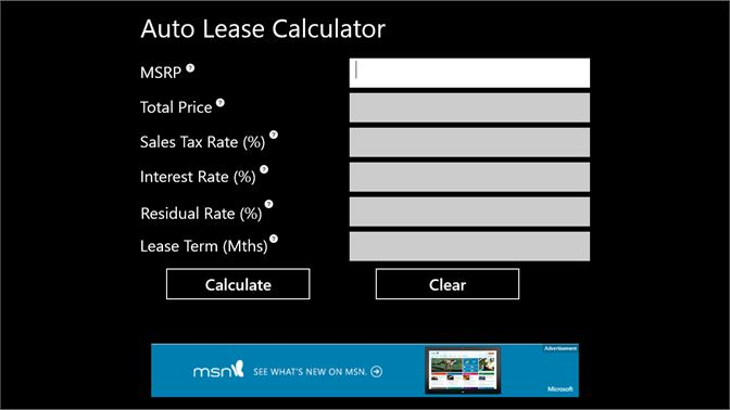Auto Lease Calculator >> Get Auto Lease Calculator Microsoft Store