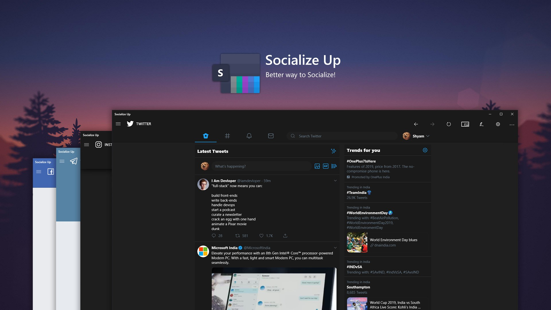 Get Socialize Up - Twitter, Instagram, Facebook and more - Microsoft