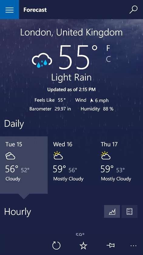 Get msn weather microsoft store screenshot get current conditions todays weather and forecast information at a glance gumiabroncs Gallery