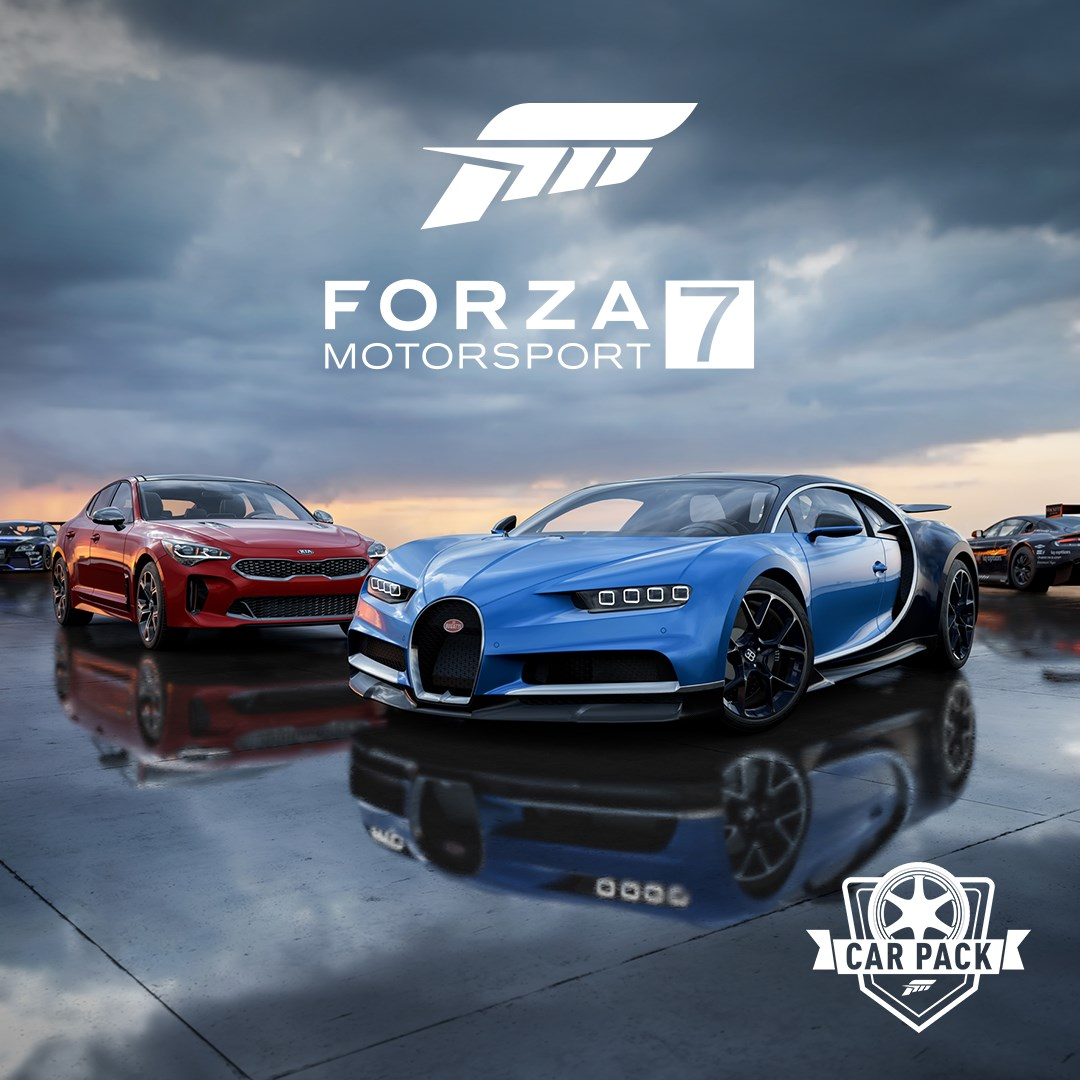 Dell Forza Motorsport 7 Car Pack, featuring a blue Bugatti Chiron and a red Kia Stinger