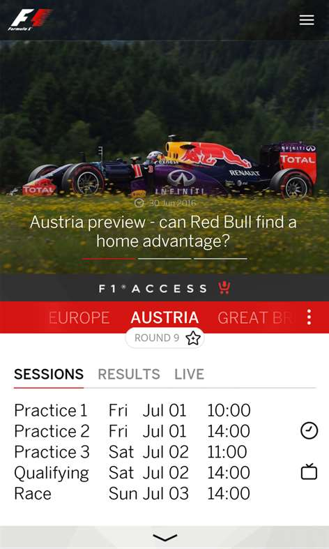 Official Formula 1 app for Windows and Windows Phone updated for 2017 season 2