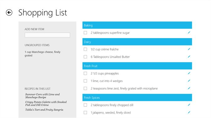 screenshot add recipes menus and individual items to your shopping list the shopping