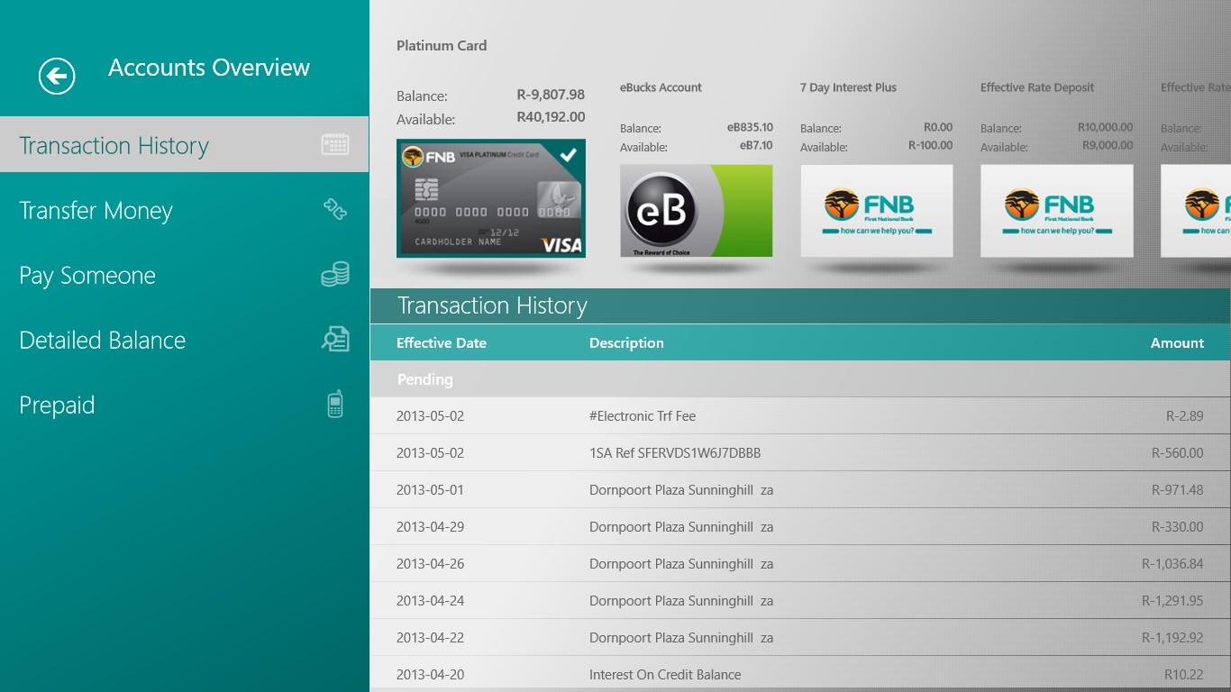 FNB Banking App for Windows 10