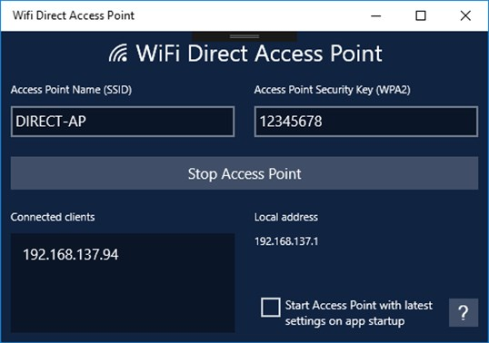 Wifi Direct Access Point screenshot