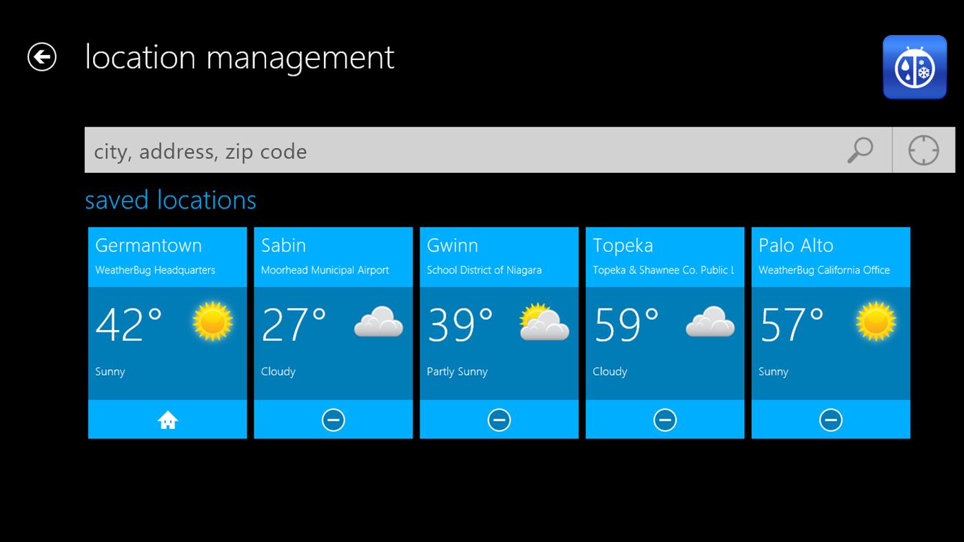 Full WeatherBug for Win8 UI screenshot