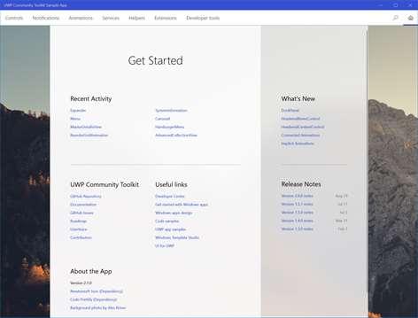 UWP Community Toolkit Sample App Screenshots 1