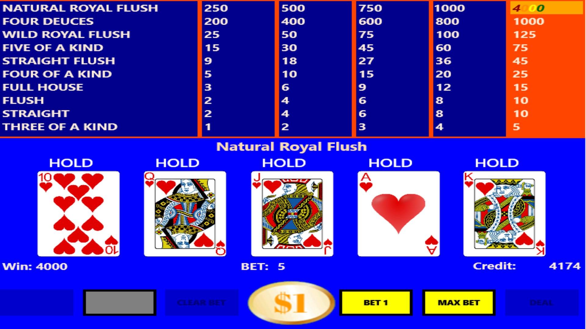 Deuces wild video poker app