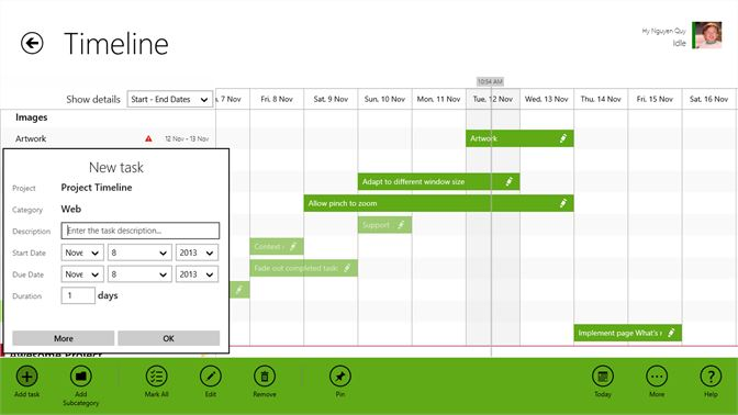 get project timeline microsoft store