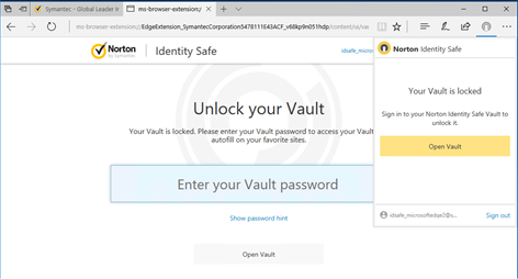 Norton Identity Safe Screenshot