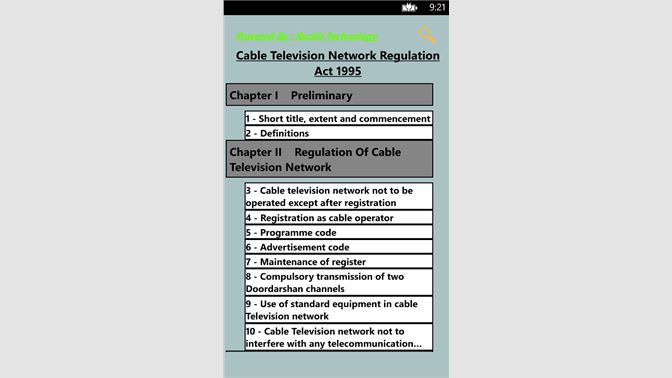 Get Cable Television Network Regulation Act 1995 - Microsoft