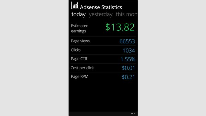 Get Adsense Statistics - Microsoft Store
