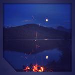 Campfire in night