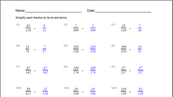 Simplify Fraction Worksheet for Windows 10 free download – Simplifying Fractions Worksheets
