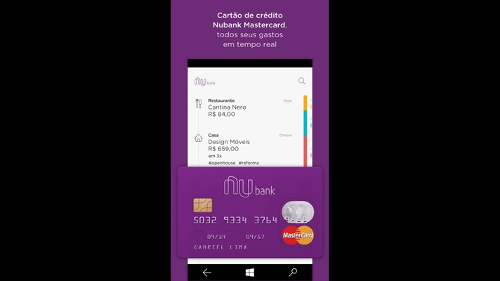 Nubank Windows Phone app updated with Card Tracking 1