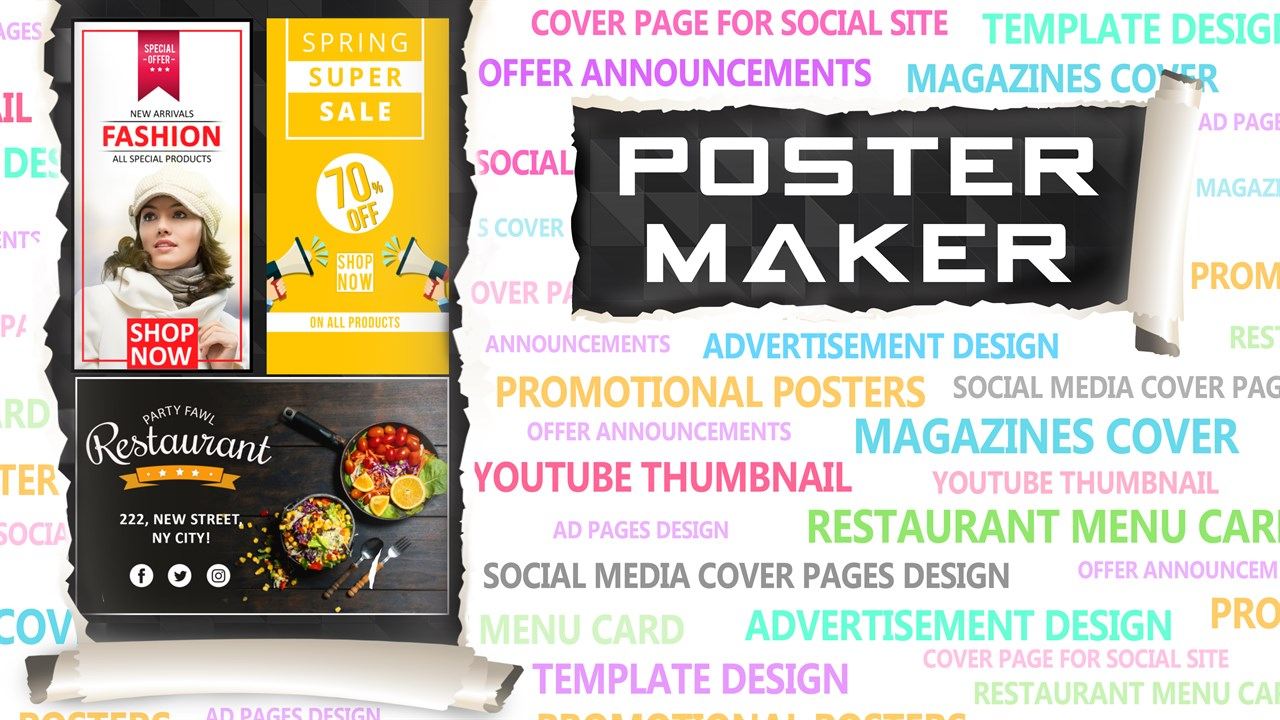 Get Poster Maker: Thumbnail, Cover, Flyer & Ad Page Designer