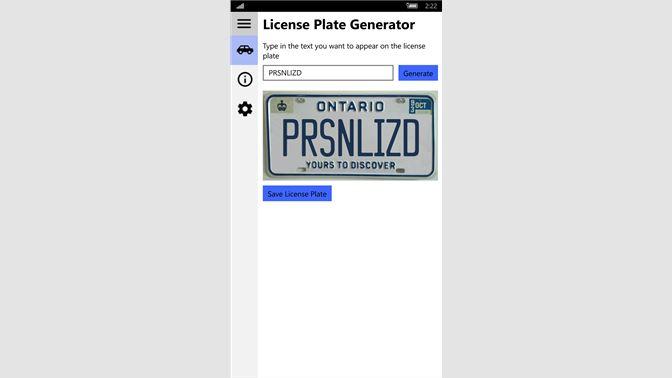 Get License Plate Generator Microsoft Store En Ca