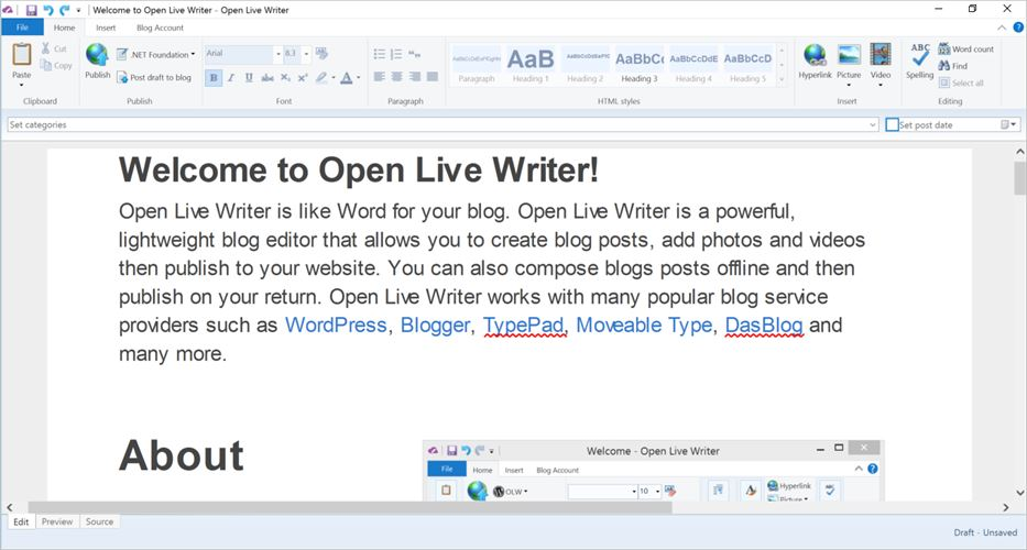 Open Live Writer Screenshot