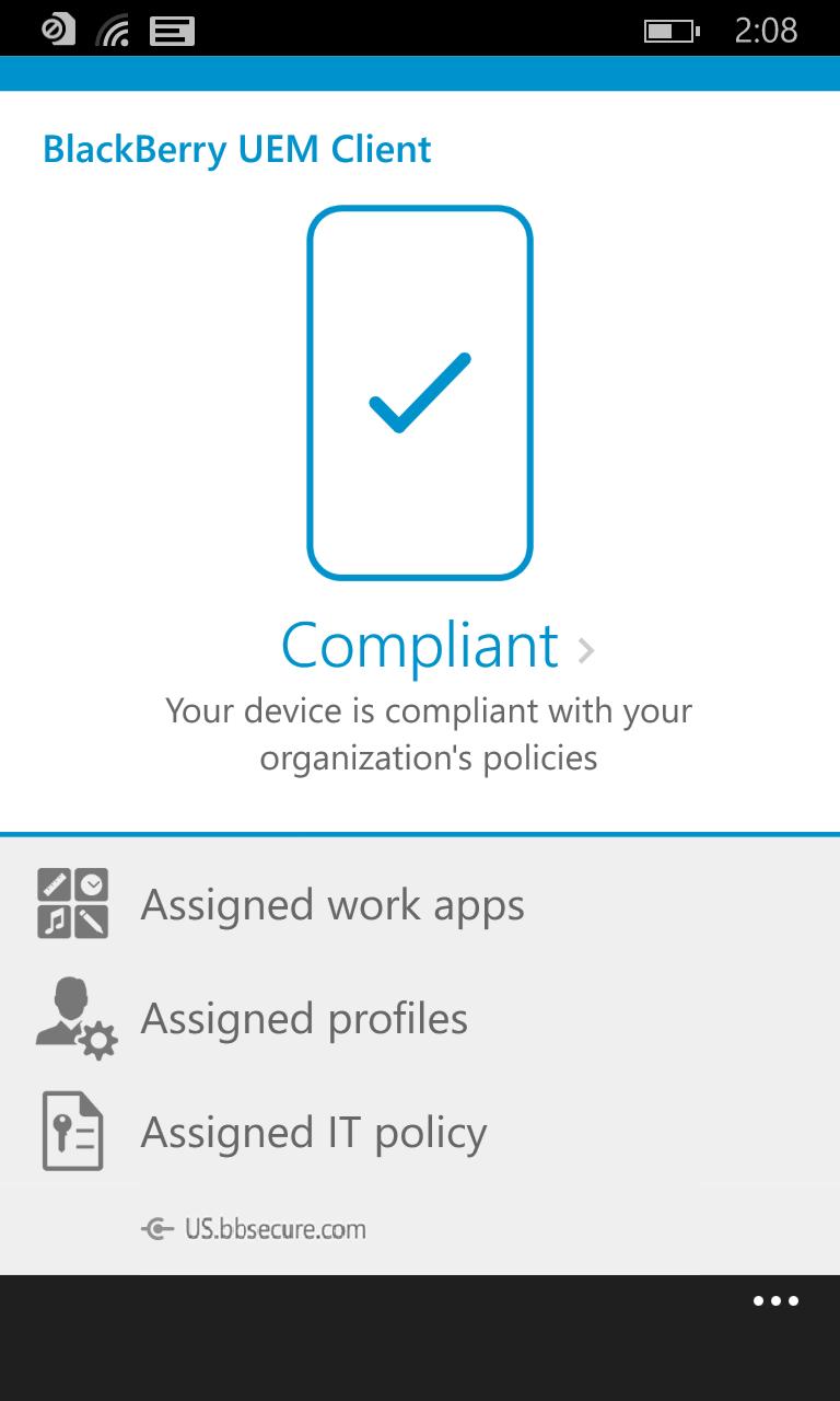 BlackBerry UEM Client for Windows 10 Mobile