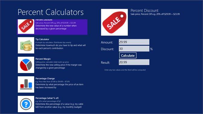 buy percent calculator microsoft store