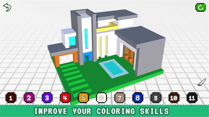 Get Modren House 3d Color By Number Voxel Coloring Microsoft