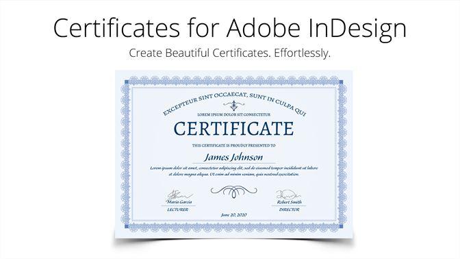 screenshots - Indesign Certificate Template
