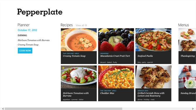 screenshot see your most recent recipes menus and todays cooking plan on the pepperplate