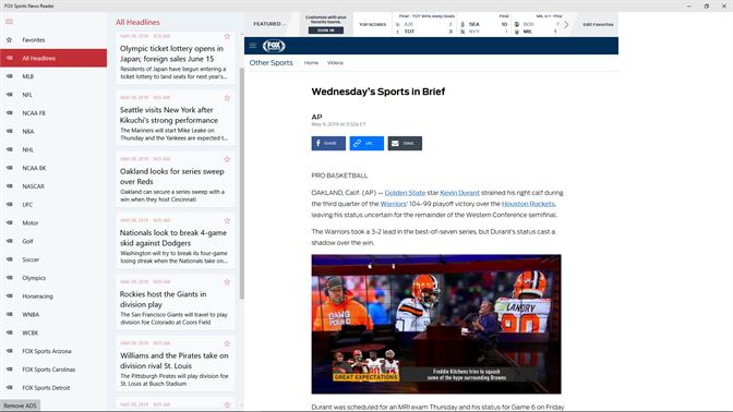 Get FOX Sports News Reader - Microsoft Store en-MT