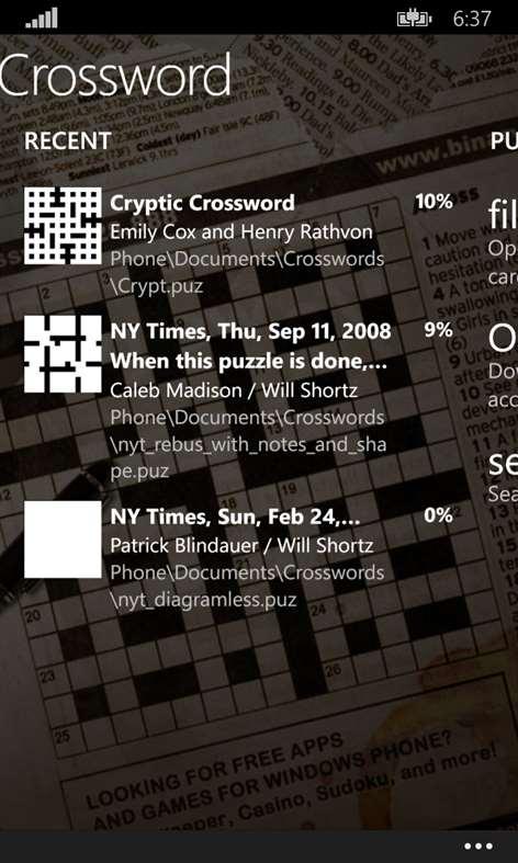 All Mobile Crossword Screenshots 1