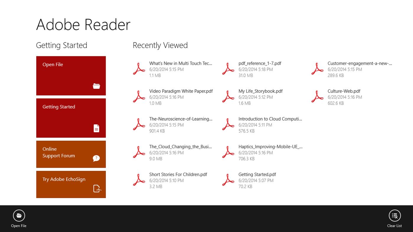 Adobe Reader Touch full screenshot
