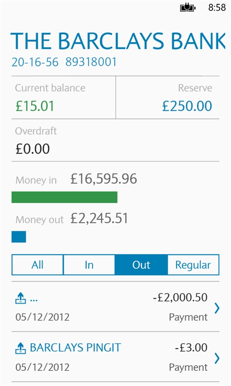 Barclays Mobile Banking Screenshot