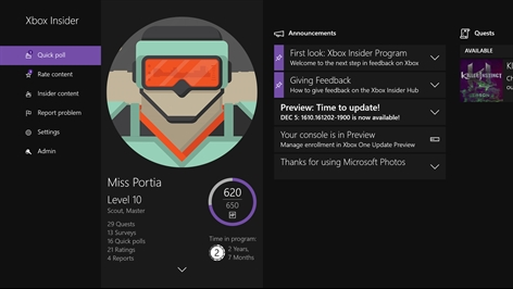 Xbox Insider Hub Screenshot