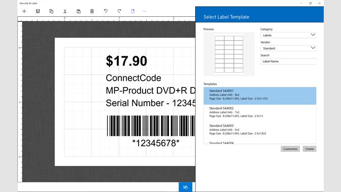 get barcode label microsoft store