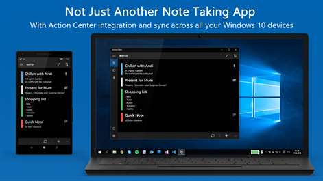 how to change note app in action center windows 10