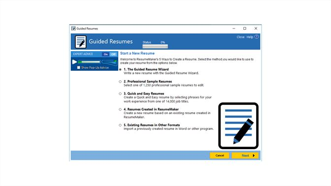 select one to use the step by step guide to begin your resume or choose from four