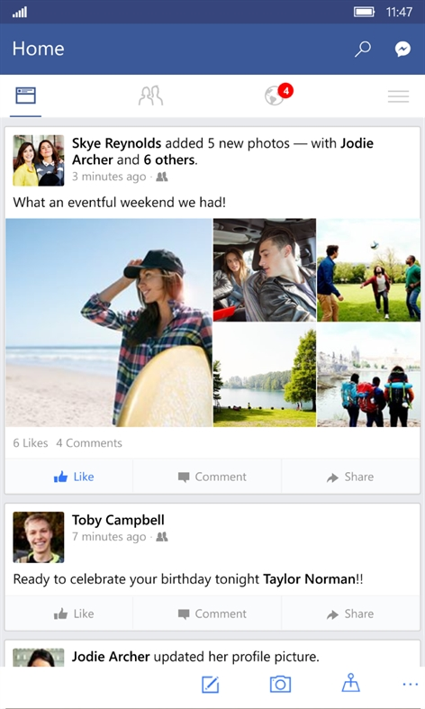 Facebook Beta Screenshot