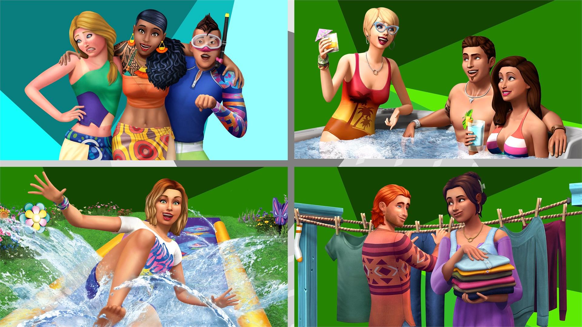 De Sims™ 4 Buitenpret Bundel – Eiland Leven, Perfecte Patio Accessoires, Achtertuin Accessoires, Wasgoed Accessoires
