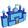 Castle 3D Color by Number - Voxel Coloring Book