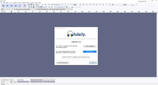 Audacity Windows Store Version screenshot
