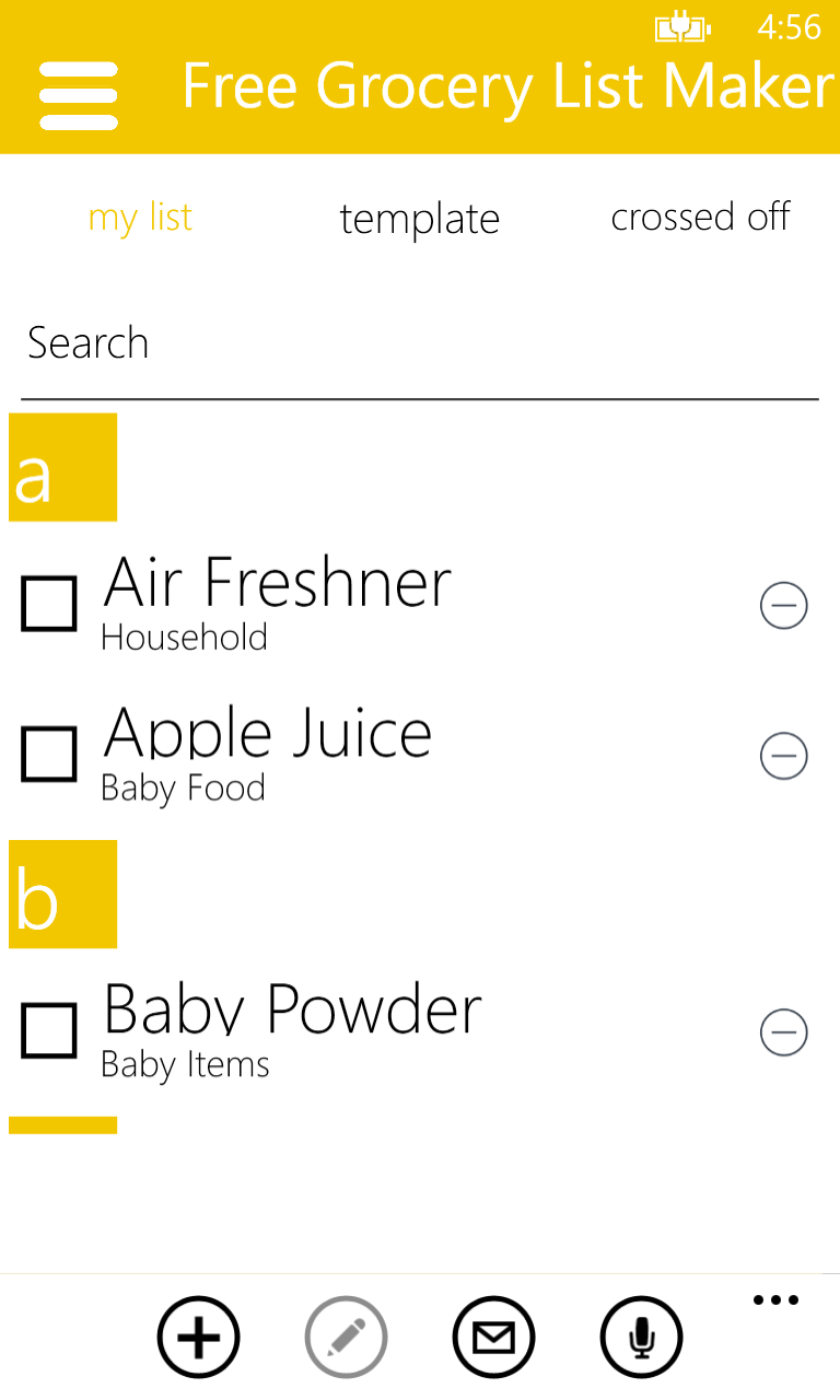 online grocery shopping list maker