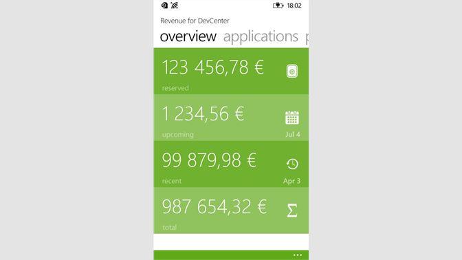 Get Revenue for DevCenter - Microsoft Store