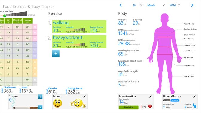 buy food exercise body tracker microsoft store en ca