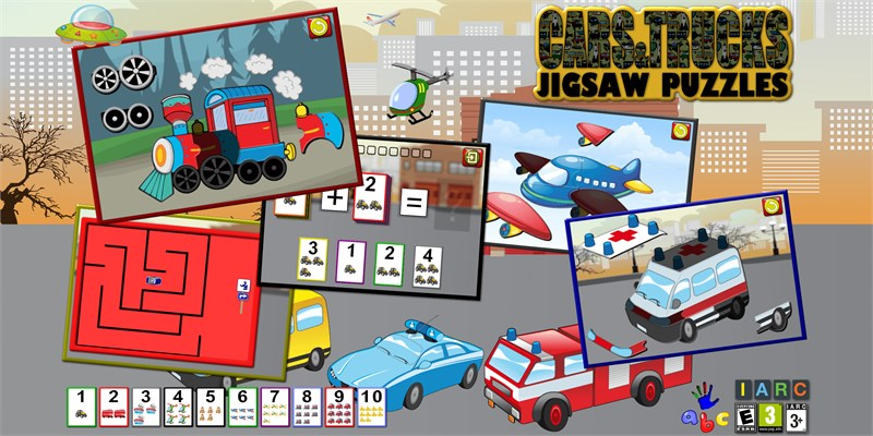Get Preschool Car Truck and Engine Jigsaw Puzzle Shapes - learning