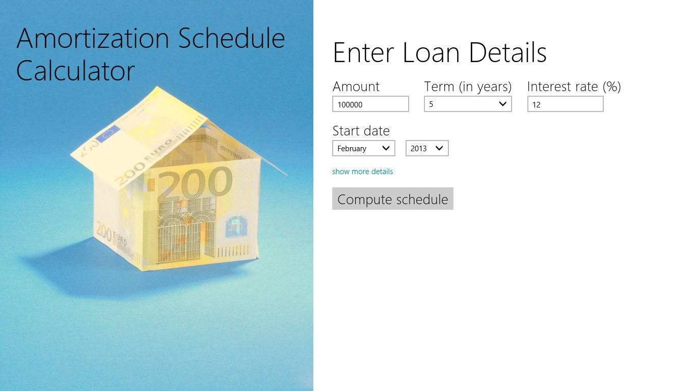 amortization schedule calculator for windows 10 free