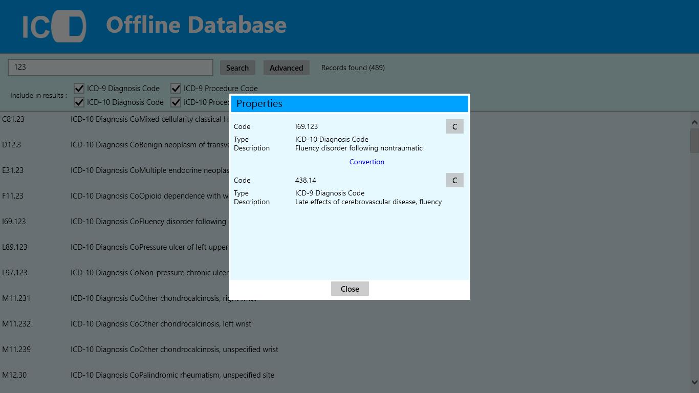 ICD9/ICD10 Offline Database