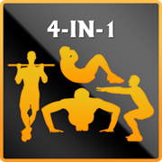 4-in-1 Fitness Pushups, Situps, Squats & Pullups