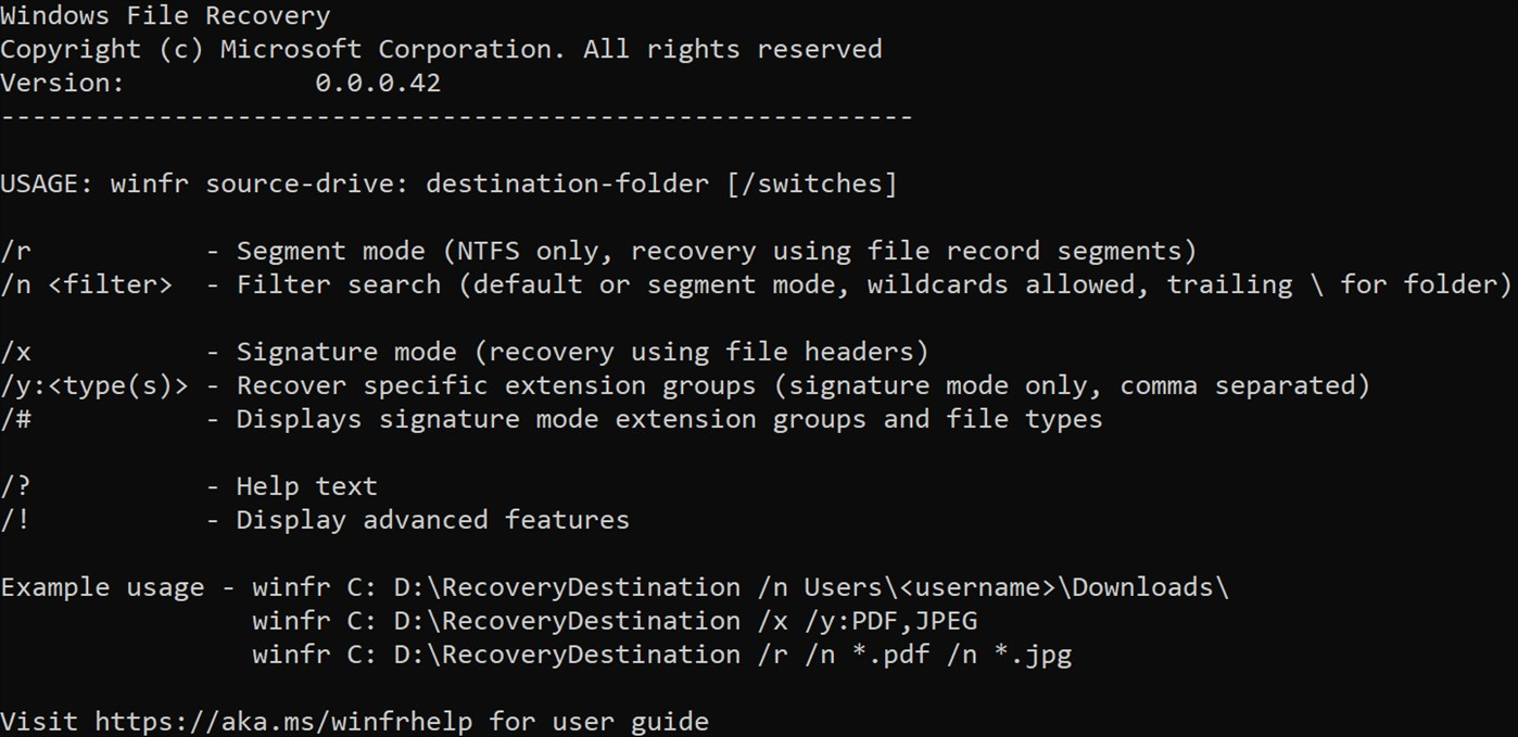 Windows File Recovery命令