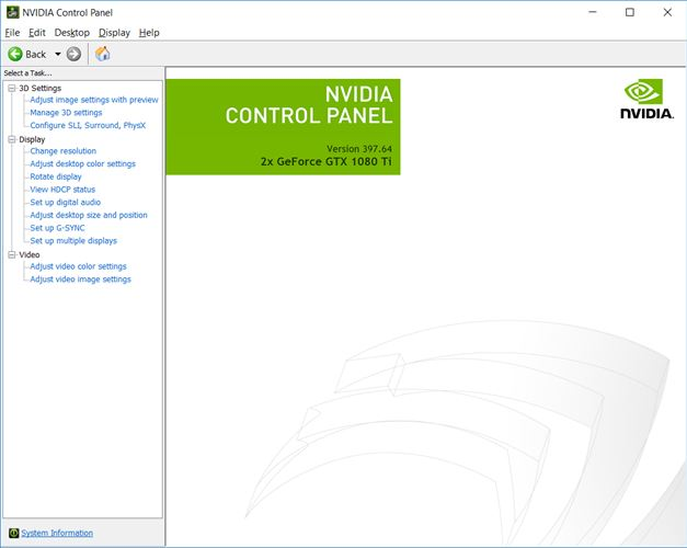 NVIDIA Control Panel Screenshot