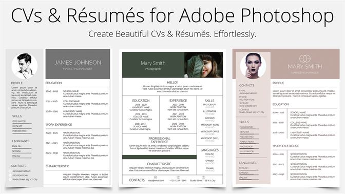 Buy CV Resume Templates For Photoshop