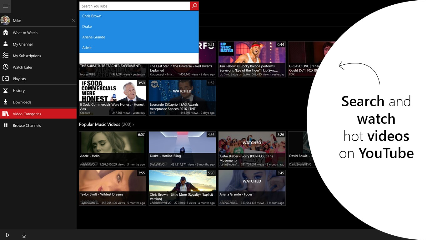 Video Player for YouTube - Search and play music videos and movies streaming