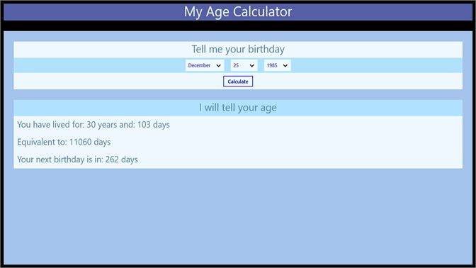 Get Age in days calculator - Microsoft Store en-IN